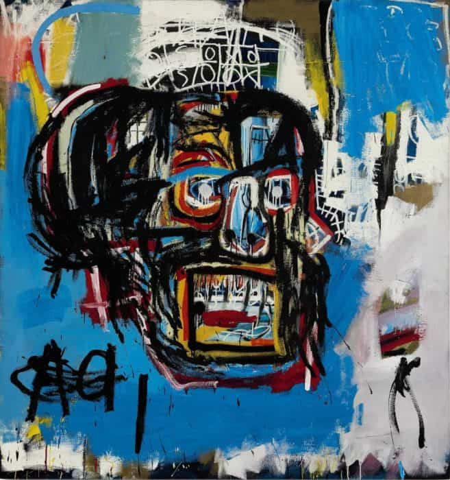 The most expensive skull of Basquiat sold to japanese collector Maezawa for $ 110.5 million at Sotheby's in 2017 on show at Louis Vuitton Foundation