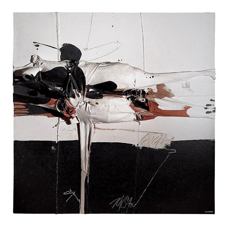 Personaje caído, 1967, Mixed media on burlap , 150 x 150 cm