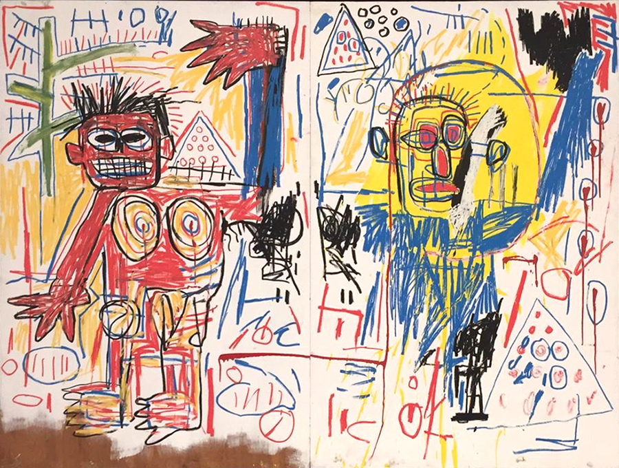 An artwork of Basquiat from private collection on show at Louis Vuitton Foundation in Paris