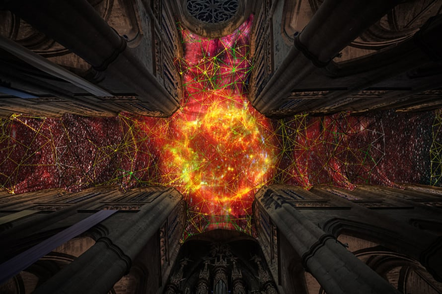 Miguel Chevalier Digital Supernova at Cathédrale Notre-Dame de Rodez