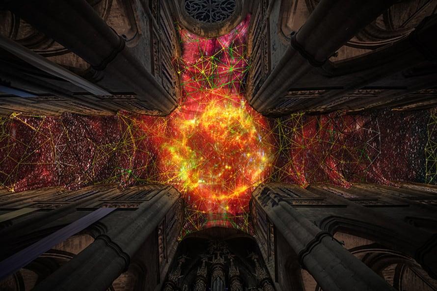 Miguel Chevalier Digital Supernova at Cathédrale Notre-Dame de Rodez